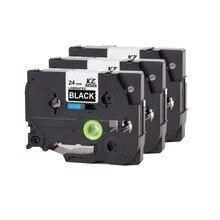 Cidy 3pcs/Lot Tze355 Tze 355 tz355 tz 355 White on Black Tze Compatible Brother Cassette Ribbon Ptouch Cartridge