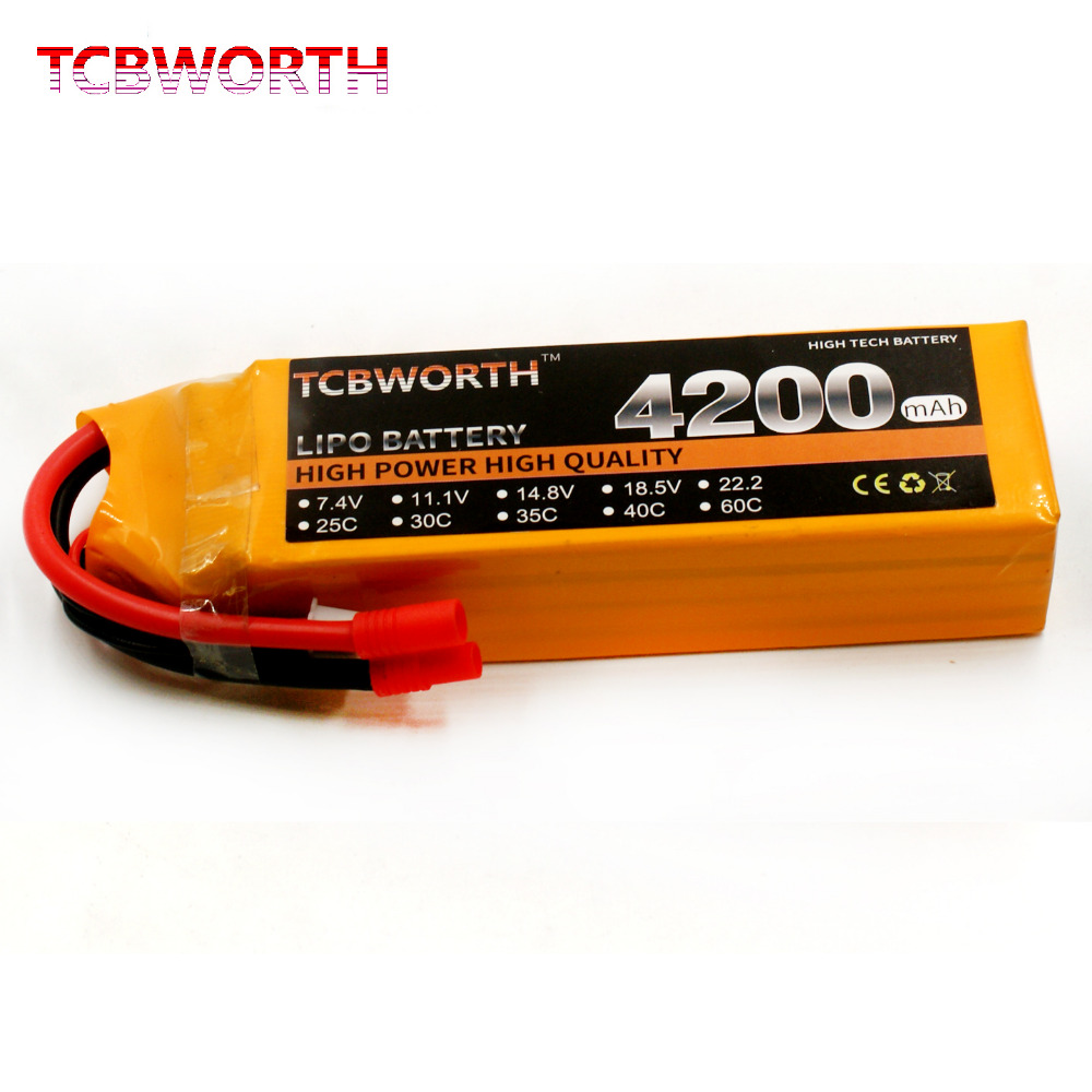 TCBWORTH RC Helicopter LiPo battery 4S 14.8V 4200mAh 30C For RC Drone Quadrotor Airplane Car Boat Li-ion battery tcbworth 11 1v 3300mah 60c 120c 3s rc lipo battery for rc airplane helicopter quadrotor drone car boat truck li ion battery