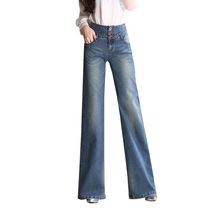 New 2017 High Waist Big Boot Cut Jeans Trousers Female Blue Wide Leg Pants Elegant Vinta ...