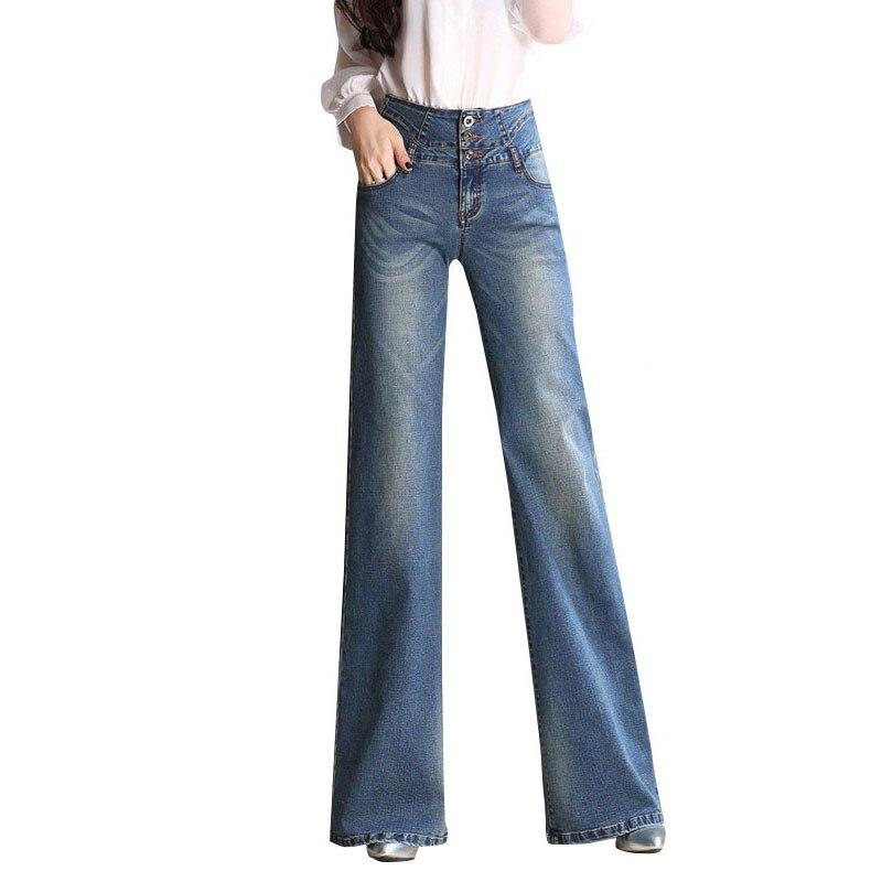 Ciel Taille Big Pantalon 2017 Boot Jambe Mid Large Cut bleu Bleu Jeans Haute Blue Femelle Vintage Élégant Nouveau Flare pu 5tHAqw