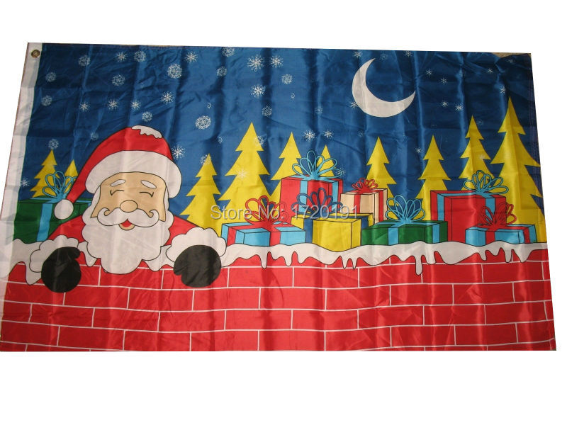 3x5 Merry Christmas Santa Claus Chimney Flag 3x5 House Banner