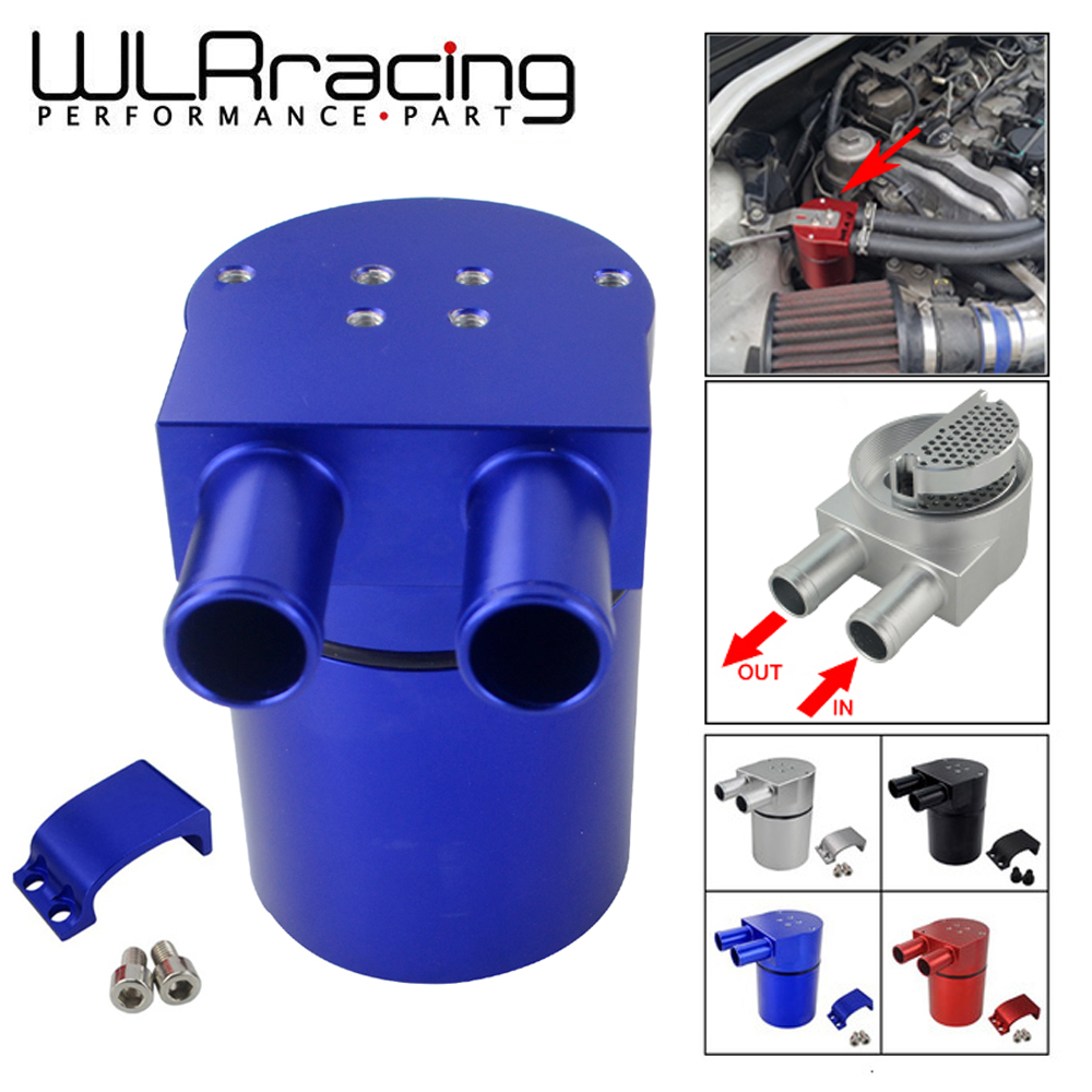 WLR RACING - UNIVERSAL Aluminum Alloy Reservior Oil Catch Can Tank For BMW N54 335 BLACK & SILVER &  Red & Blue WLR-TK60