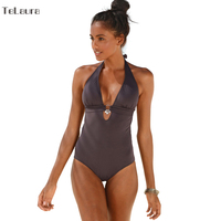 2017 New One Piece Swimsuit Women Vintage Bathing Suits Halter Plus Size Swimwear Push Up Sexy