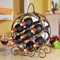 Metal wine shelf creative wine rack 7 bottled wine Vintage iron ornaments