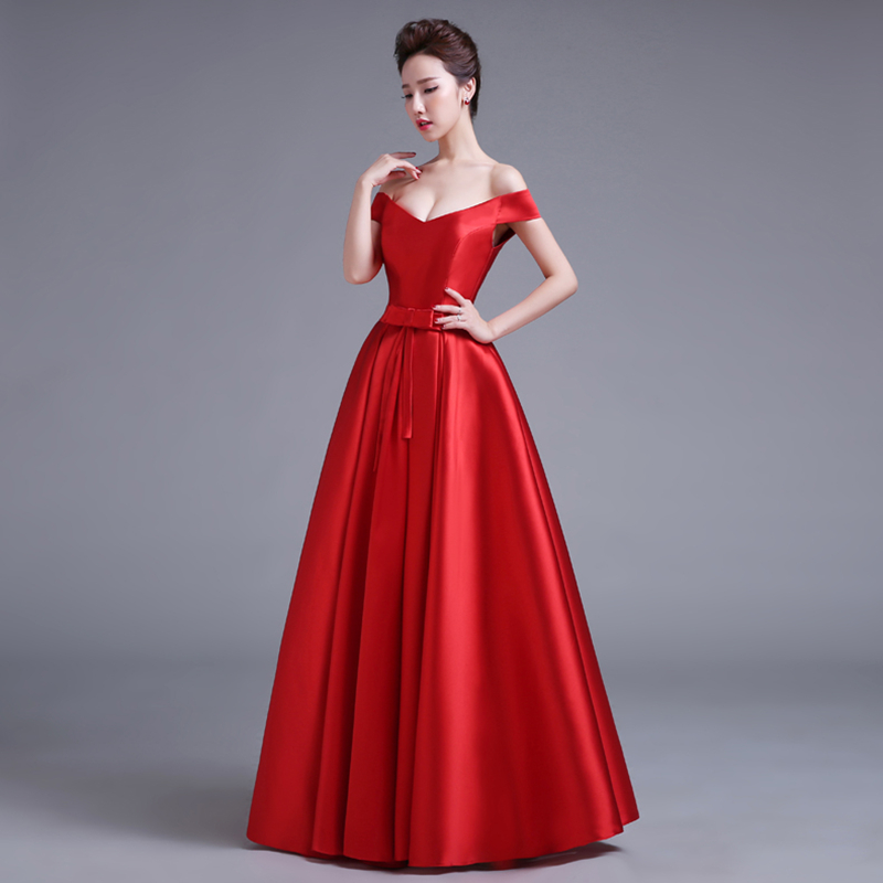 Robe De Soiree Short Sleeves Red Color Satin Long Evening Dresses New Floor Length Vintage Lace Top Cheap Prom Dresses