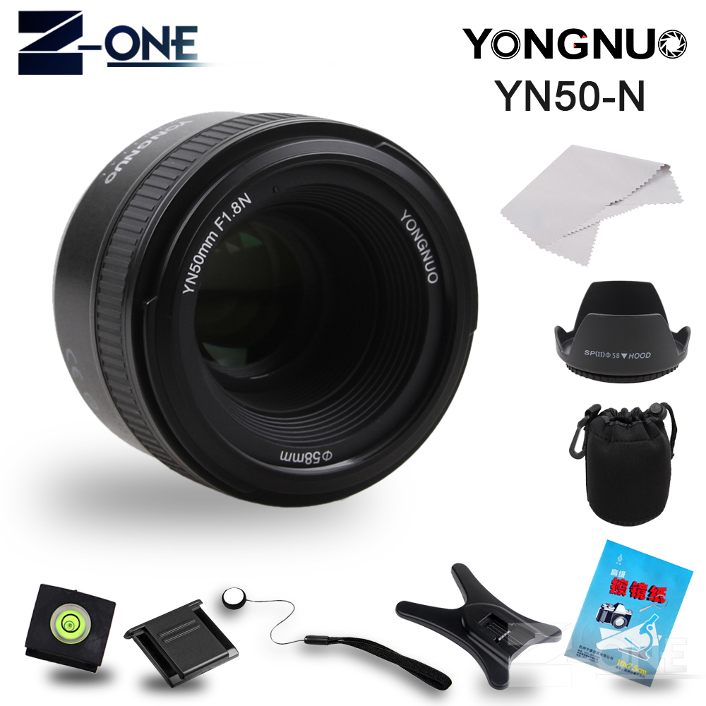 YONGNUO YN 50mm f/1.8 AF Lens YN50mm Aperture Auto Focus Large Aperture for Nikon DSLR Camera as AF-S 50mm 1.8G Free Gift yongnuo yn 50mm lens fixed focus lens ef 50mm f 1 8 af mf lense large aperture auto focus lens for canon dslr camera pouch bag