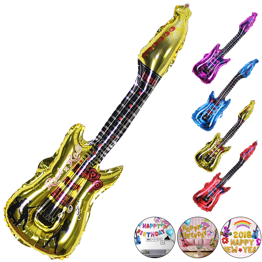 Party Supplies Balloons 4 Colors 1pc 85x30cm Cartoon Guitar Balloons Inflatable Air Globo Kids Toys Birthday Ballon Classic Toys Event & Party