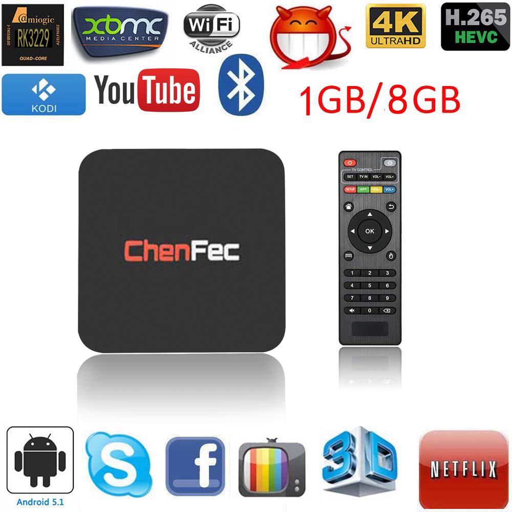 2018 New Q1 Pro 4K Android TV Box RK3229 1G / 8G Quad Core 4K / 2K H.265 3D 2.4G WiFi OTT TV Box Streaming Media Player