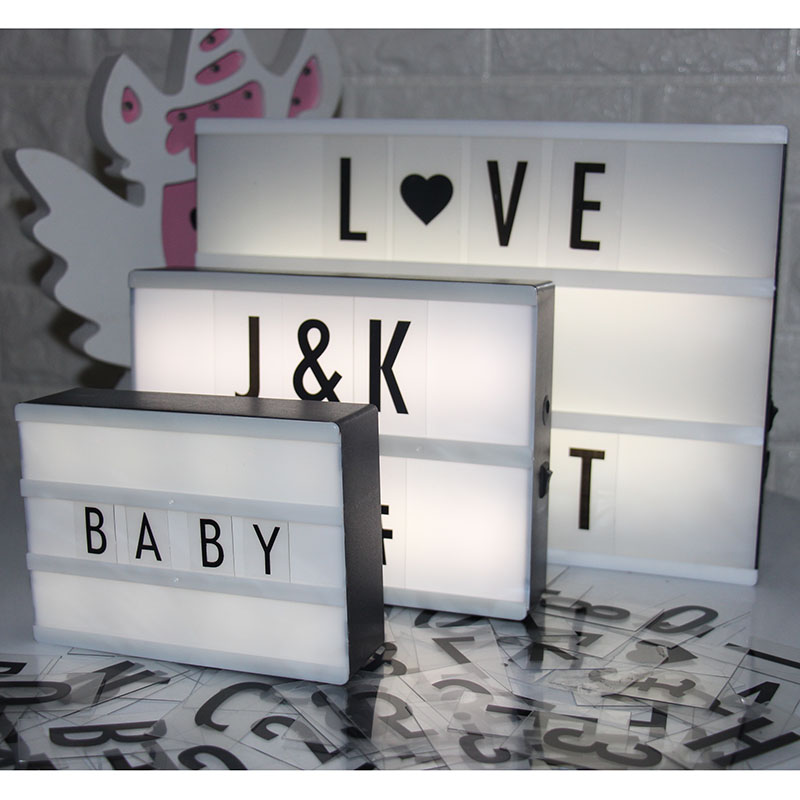 Led Letter Lamp A6 A5 A4 Size DIY Plastic Light Box With 85 Letters Plasic Lightbox Led Marquee Sign Table Decoration Lighting