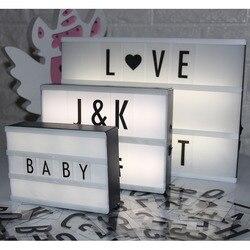 Led carta lâmpada a6 a5 a4 tamanho diy caixa de luz de plástico com 85 letras plasic lightbox led marquee sinal iluminação da mesa decoração