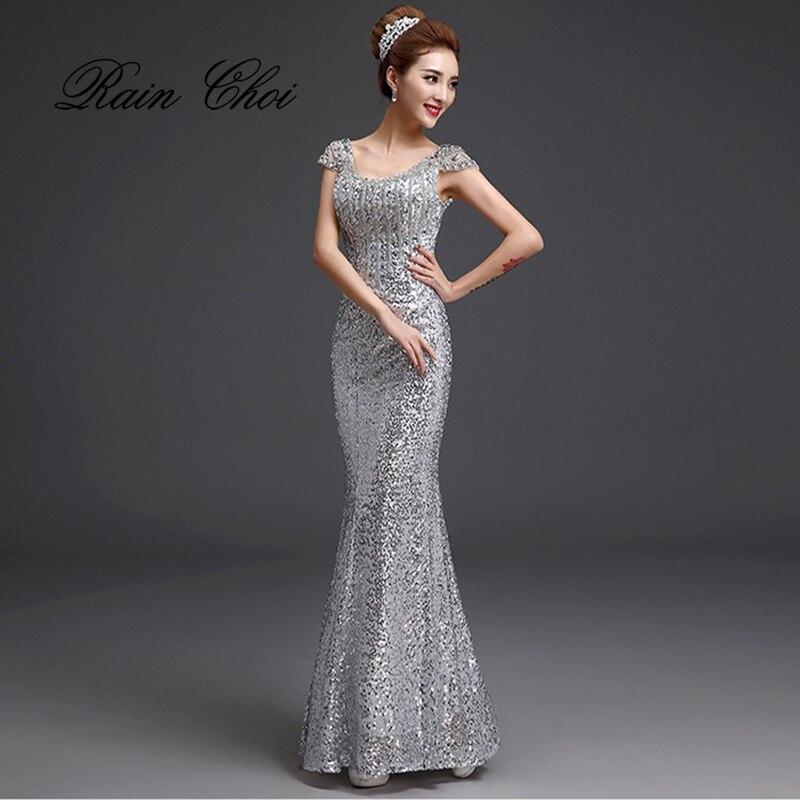 2019 Long Mermaid Evening Dresses Formal Prom Dress Sequins Evening Gowns robe de soiree longue