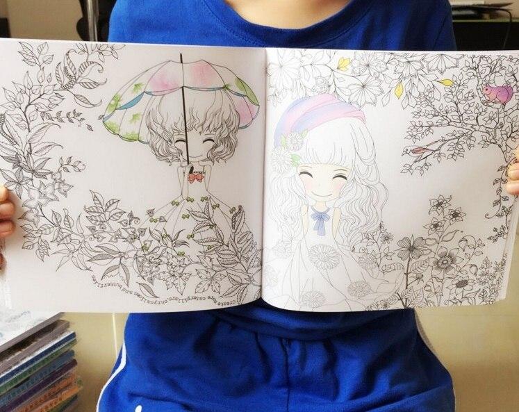 100 páginas hermosa chica libro de colorear jardín secreto libro de ...