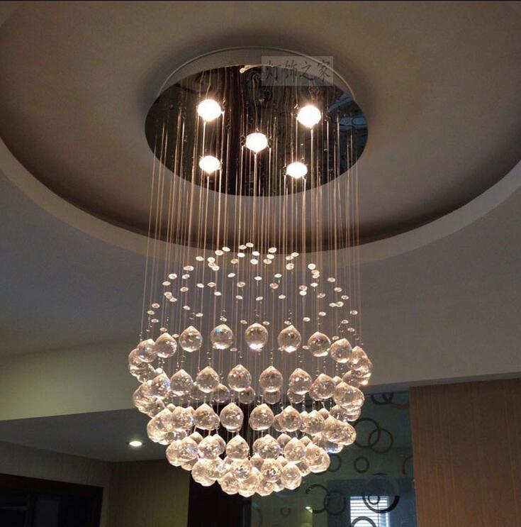 Modern Circle Low Voltage Crystal Pendant Lamp Ball Drops Brief Living Room Dinner Lighting Lights