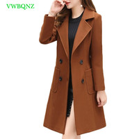 Spring Autumn New Korean Slim Long Woolen Coat Women Temperament Woolen Coats Women's Double breasted Plus size Overcoats A428