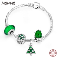 STEP FORWARD Hot Sale 925 Sterling Silver Green Tree Clover cactus CZ Charms Bracelets & Bangles for Women Silver Jewelry WLB022