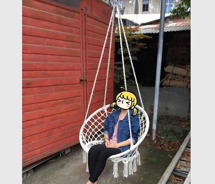 Nordic style round hammock outdoor indoor dormitory for Hanging round hammock