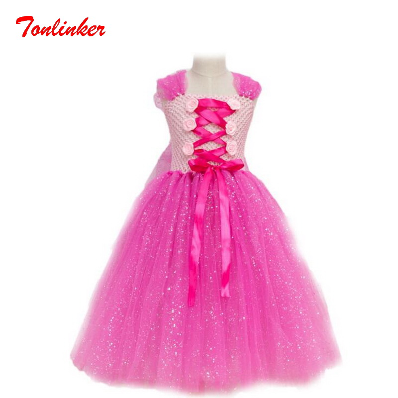 New Beautiful Bow-Knot Princess Tutu Tulle Dress Sequin Flowers  Party Halloween
