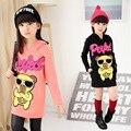Kids Girls New Winter Children Shirt with Korean Cashmere Hoodie Long Sleeve Thick T-shirts Bear Cartoon Printing Kids Clothing