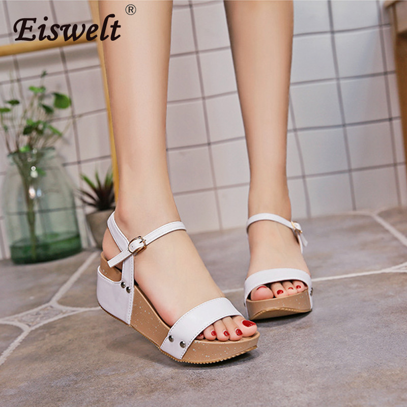 EISWELT 2018 Women Sandals White Flat Sandals Wedges Heel Sommar - Damskor - Foto 2