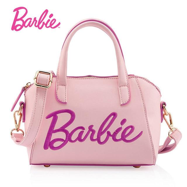Barbie Women Bag Pink Leather Bags Fashionable Handbags High Quality Modern Female Sweet Bolsa