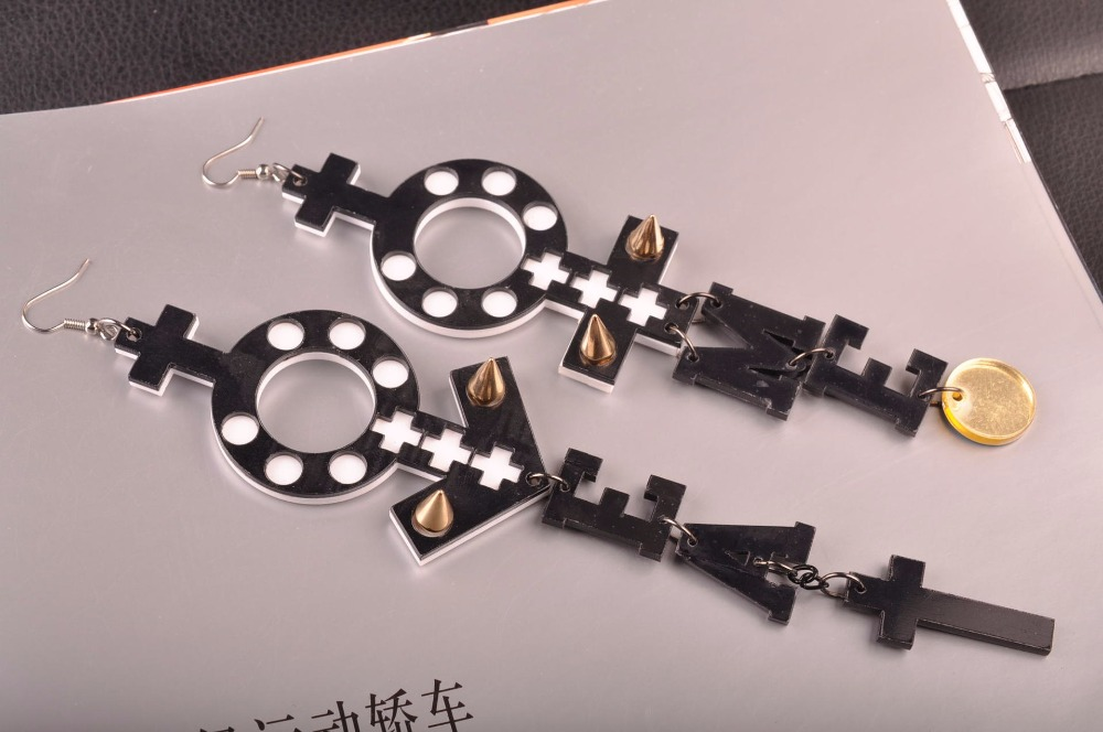 New arrivial bijoux femme male and female symbol black white large acrylic earrings women