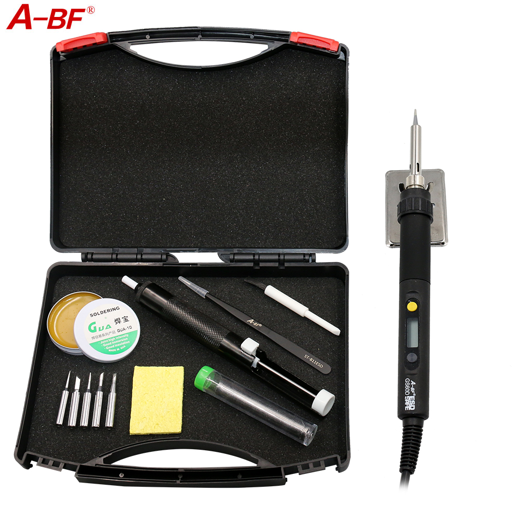 A-BF GS60D 60W 220V Adjustable temperature Electric Soldering iron Soldering station with Soldering Tips,solder,Desoldering Pump