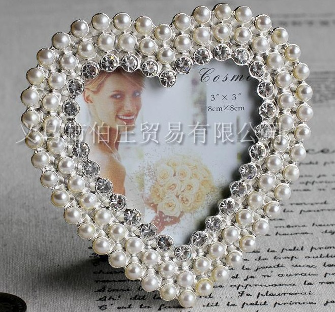 Wholesale (20 pieces/lot ) Metal 3X3 Heart Shaped Pearl And