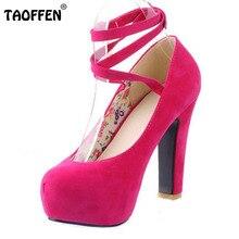 Taoffen/Женские Высокий каблук Женская обувь на каблуке с круглым носком обувь на платформе модные брендовые туфли-лодочки P10915 Лидер продаж 31-43