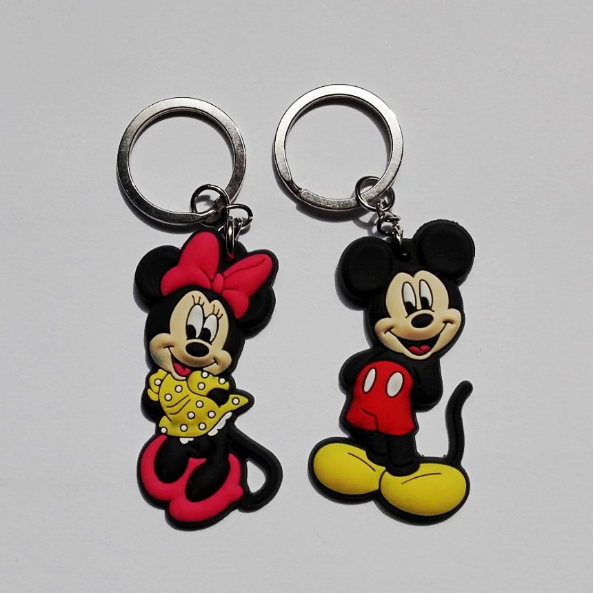 20PCS Cute Mickey Minnie PVC Anime Key Ring Cartoon Figure Key Chain Kids Toy Pendant Keychain Children Key Holder Party Gift