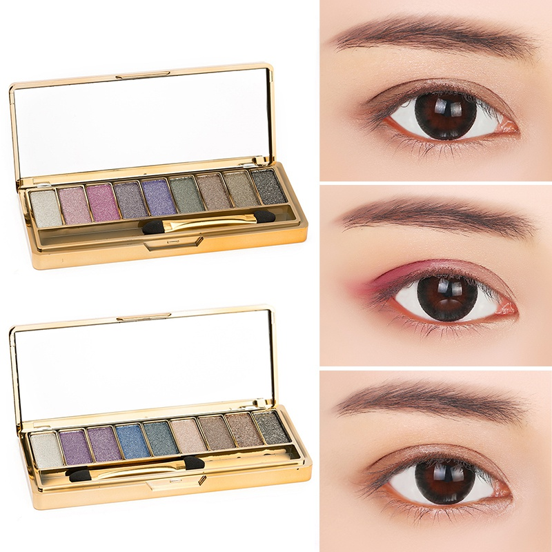 9 Colors Women Eyeshadow Palette Diamond Bright Shining Colorful Makeup Eye Shadow Flash Glitter Make Up Set With Brush