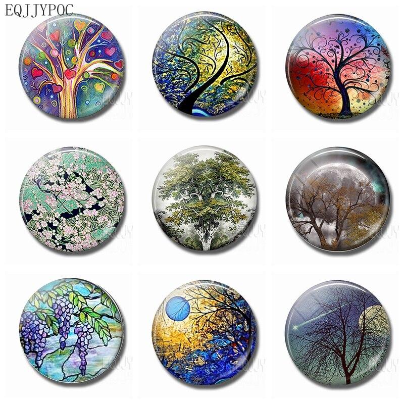 Дерево магнит на холодильник лес 30 мм стеклянный кристалл круглый природный пейзаж магнитная наклейка декоративные магниты на холодильник
