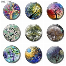 Life and Tree Fridge Magnet Souvenir 30MM Glass Crystal Round Natural Landscape Magnetic Sticker Decorative Refrigerator Magnets