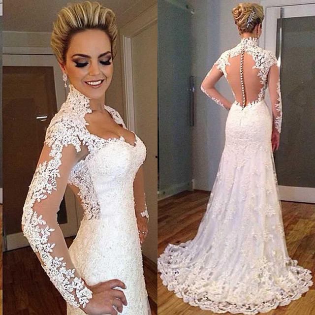 Y See Through Lace Wedding Dresses 2017 Sweetheart Court Train Ivory Long Sleeve Robe De