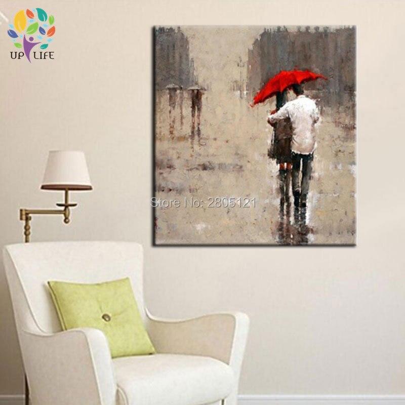 ručně vyráběné moderní olejomalba na plátně romantický milovník ulice Zaručený evropský nástěnný dekor terénní obrazy doprava zdarma