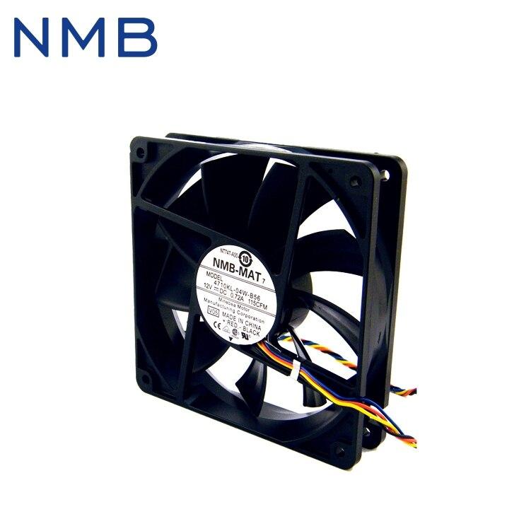Livraison gratuite NMB D'origine quatre-fil thermostat 12 v 12 cm 0.72A PWM ventilateur 12025 4710KL-04W-B56
