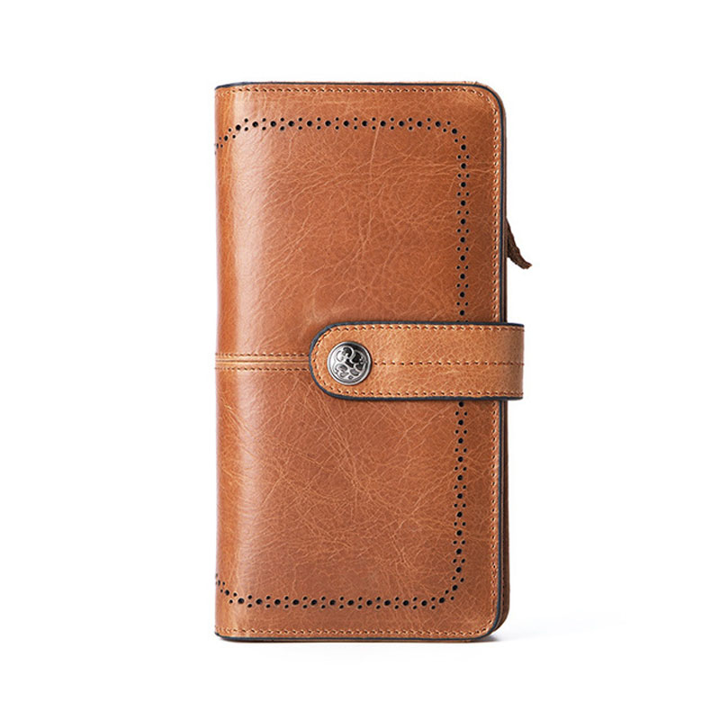 GENMEO New Genuine Leather Wallet Men Cow Leather Purse with Card Holder Long Clutch Bag with Zipper Coin Purse Bolsa Feminina in Wallets from Luggage Bags