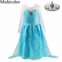 Multicolor Summer Baby Girl Dress Fever Anna Elsa Dress Birthday Party Dress For Kids Costume Children