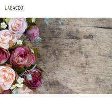 Laeacco Dark Wooden Board Flowers Watercolor Baby Food Pet Portrait Photo Backgrounds Backdrops Photocall Studio