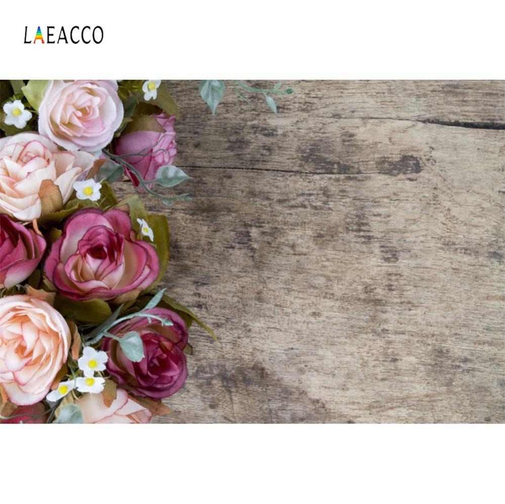 Laeacco цветы акварель темно-деревянная доска для Еда Портрет Питомца фото Фоны фото фонов Photocall Фотостудия