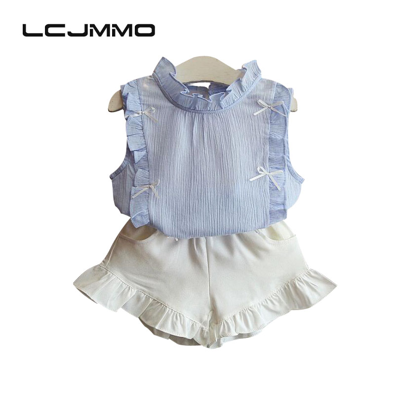 LCJMMO Children Clothes 2017 Summer Kids Girls Clothes Set T-shirt + Butterfly Shorts 2Pcs Suit Toddler Girls Clothing Sets 2-6y