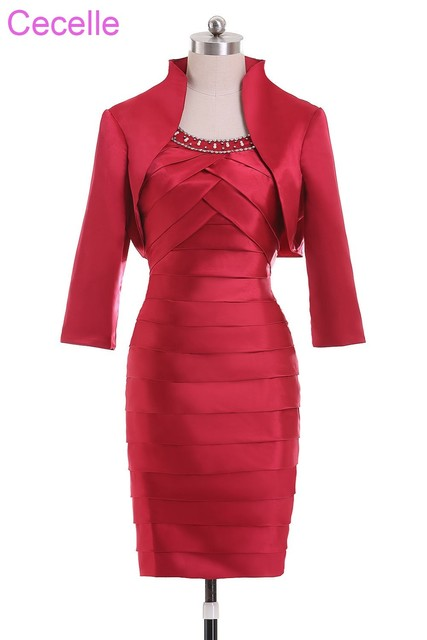 51e3eae767d Red Short Mother Of The Bride Dresses Suits With Jackets Pleats Satin  Wedding Party Gowns Sleeves Beaded Mother s Formal Dress