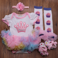 4PCs per Set Rainbow Tutu Dresses Baby Girls Crown 1st 2nd Birthday Party Dress Jumpersuit Headband Shoes Leggins for 0 24Months