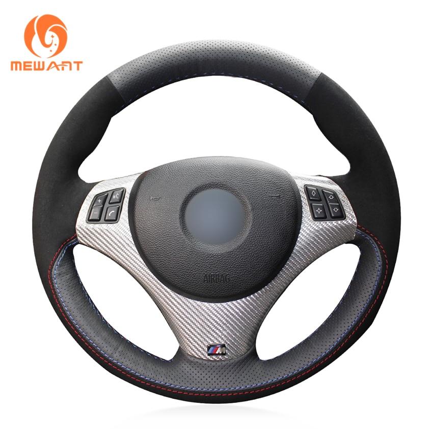 MEWANT Black Genuine Leather Black Suede Car Steering Wheel Cover for BMW E90 320i 325i 330i 335i E87 120i 130i 120d mewant black artificial leather car steering wheel cover for bmw f30 316i 320i 328i