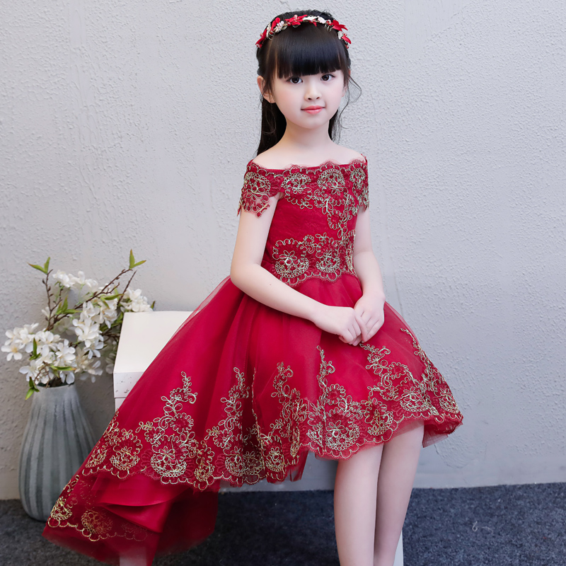 Children Girls Shoulderless Embroidery Flowers Lace Birthday Wedding Party Tail Dress Kids Babies Pageant Communication Dress girls embroidery detail contrast lace hem dress