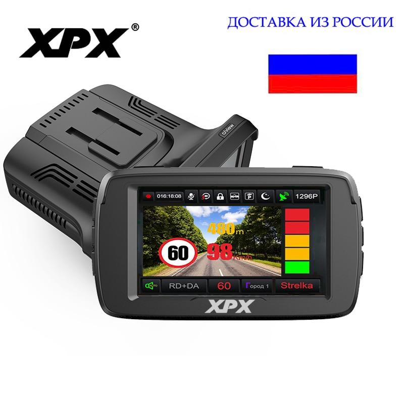 XPX G515-STR DVR 3 dans 1 Dash cam avec Radar GPS G-capteur record Cycle Parrotron Ambarella A7 PLEIN HD Caméra de voiture De Voiture DVR
