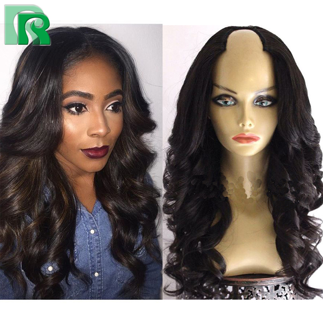 8264f839f 8A U Part Human Hair Wig Brazilian Body Wave U part Wigs Virgin Hair For  Black