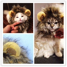 Funny Pet Puppy Dog Cat Lion Mane Wig Cap Hat Autumn Winter Halloween Christmas Dogs Cats Animal Cosplay Fancy Dress Costume