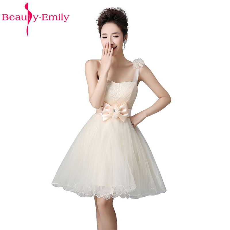 Beauty-Emily Short Knee-length   Bridesmaid     Dresses   2017 A-Line One Shoulder Lace Party Prom   Dresses   Wedding Occasion   Dress