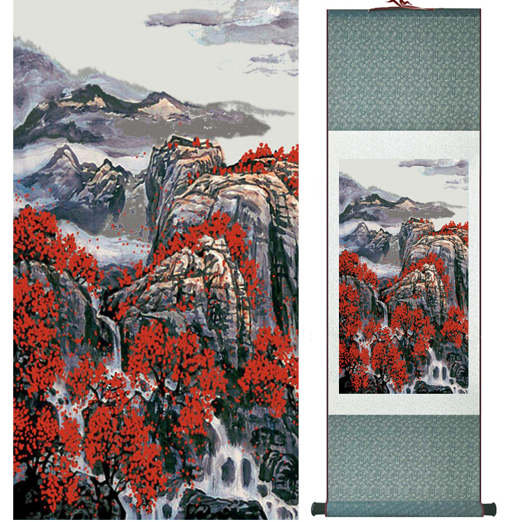 landscape painting Home Office Decoration Chinese scroll painting mountain and River paintingPrinted painting042303