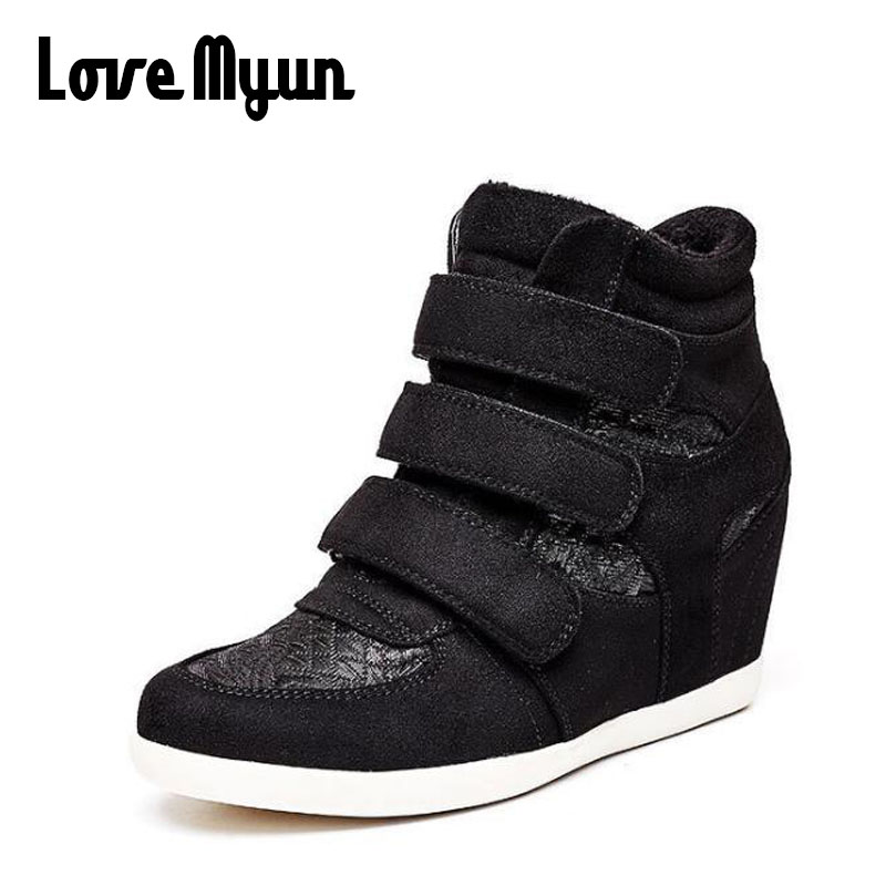 Black Women high top Height Increasing Shoes Woman Sneakers Casual Wedge flat Platform Shoes Breathable Ankle BootS KK-83